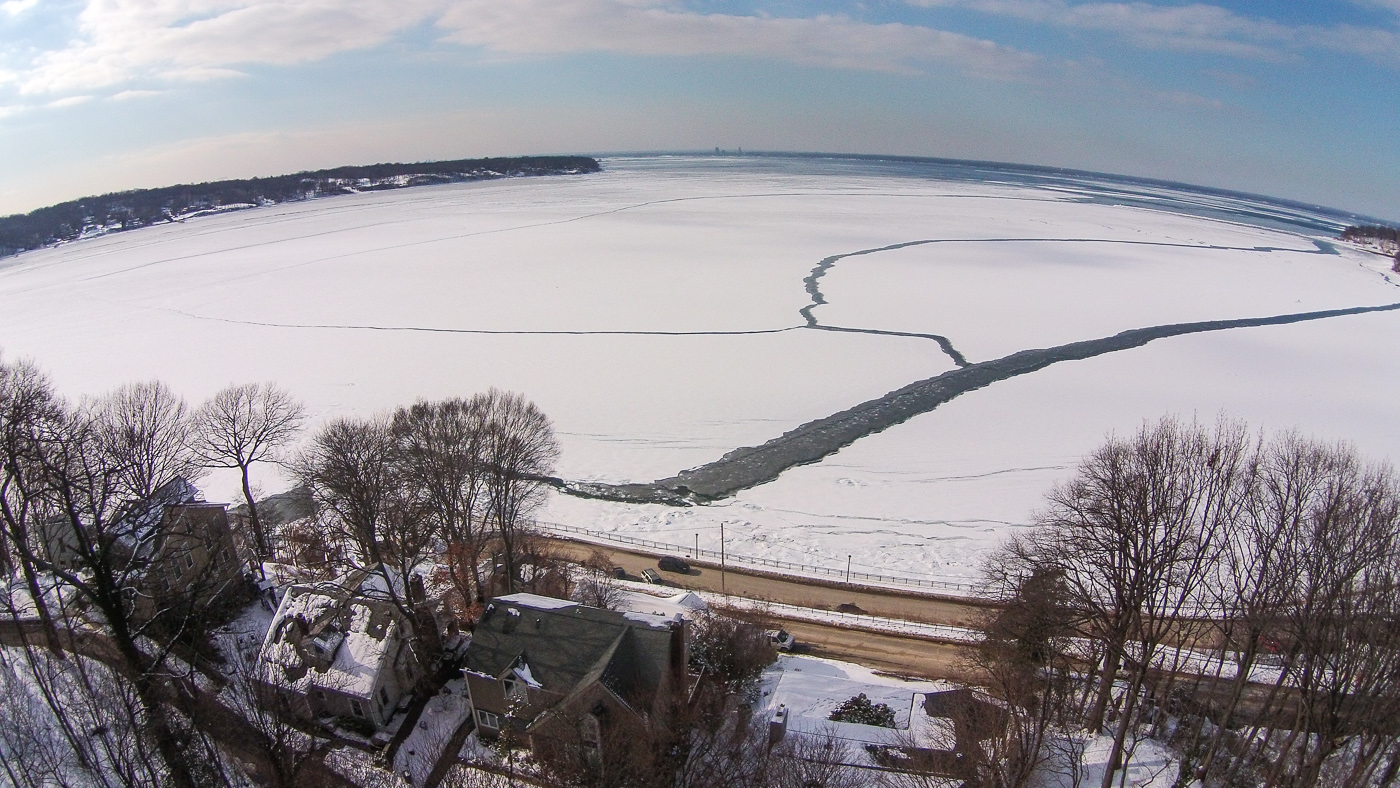 Icy Hempstead Harbor Aerial
